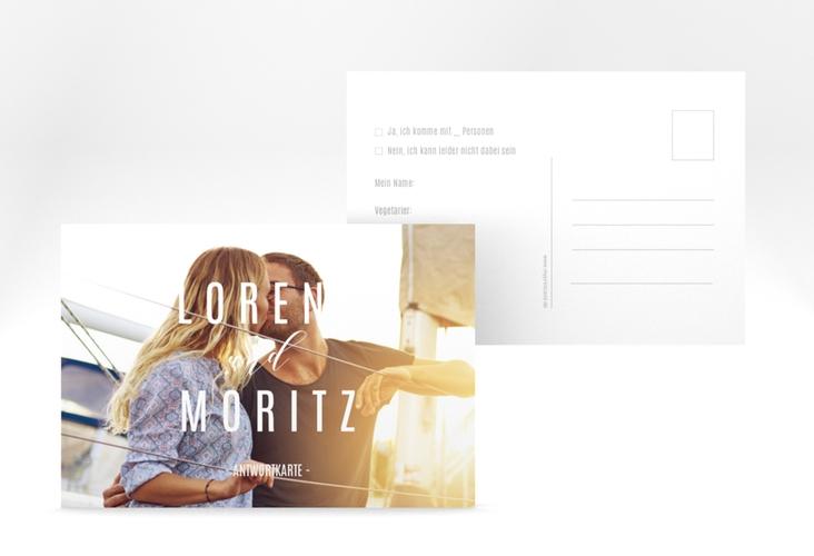 "Antwortkarte Hochzeit ""Memory"" A6 Postkarte weiss"