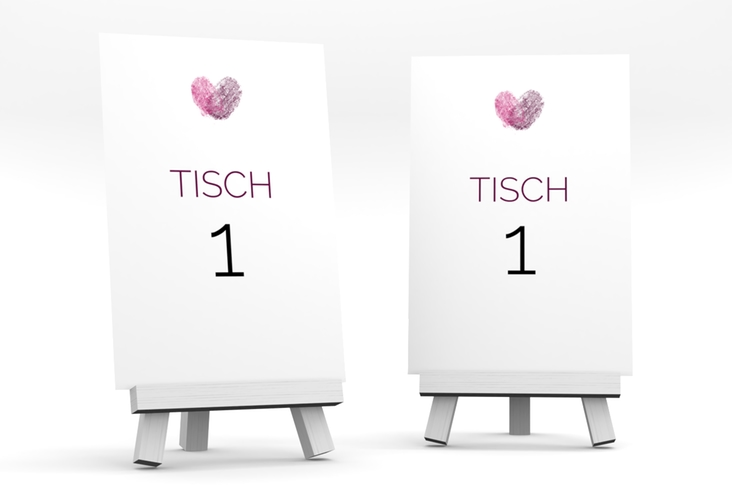 """Tischnummer Hochzeit """"Fingerprint"""" Tischaufsteller"""