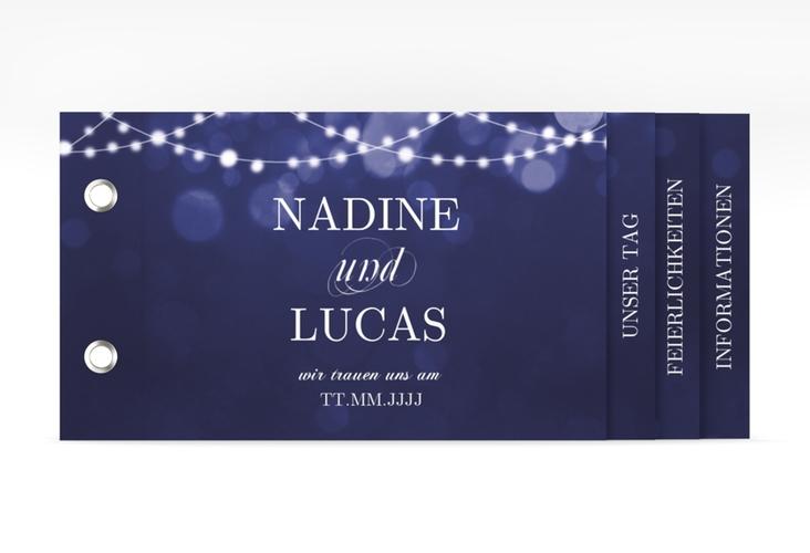 """Hochzeitseinladung """"Lichtspiel"""" Booklet blau"""