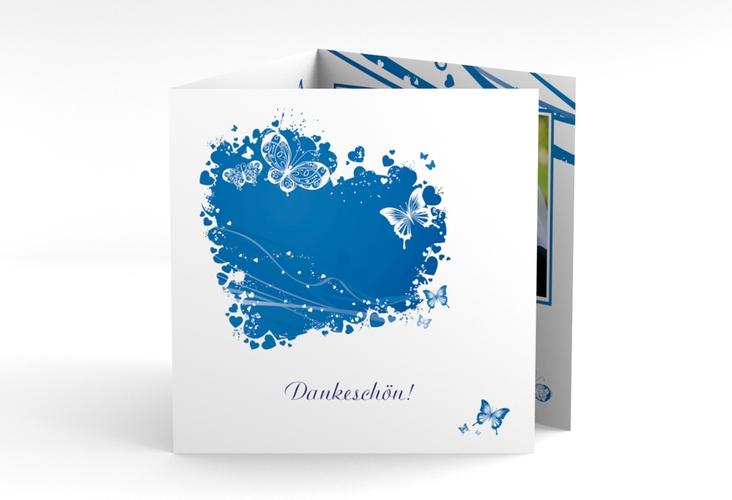"""Danksagungskarte Hochzeit """"Mailand"""" Quadr. Karte doppelt blau"""