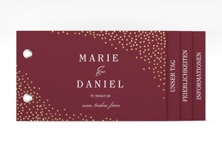 """Hochzeitseinladung """"Glitter"""" Booklet rot"""