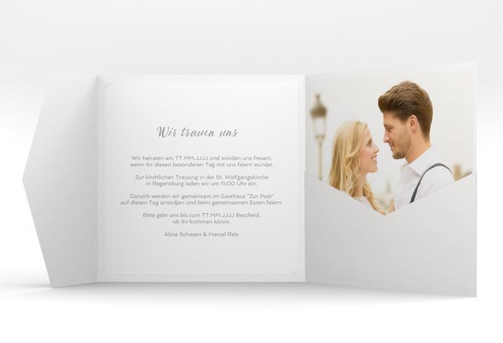 """Hochzeitseinladung """"Glam"""" Pocketfold weiss"""