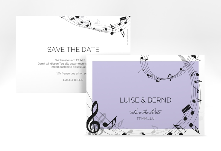 """Save the Date-Karte """"Melody"""" A6 quer flieder"""