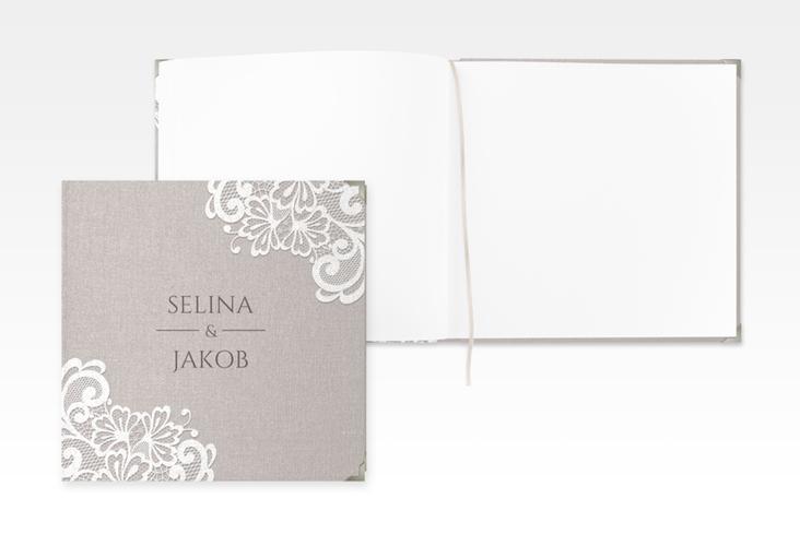 """Gästebuch Selection Hochzeit """"Vintage"""" Leinen-Hardcover grau"""