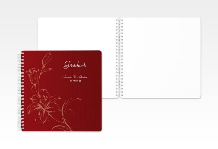 """Gästebuch Hochzeit """"Lille"""" Ringbindung rot"""