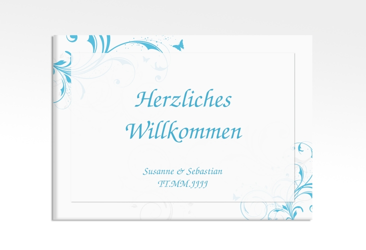 """Willkommensschild Hochzeit """"Palma"""" 70 x 50 cm Leinwand tuerkis"""