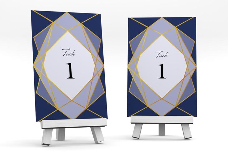 """Tischnummer Hochzeit """"Geometric"""" Tischaufsteller blau"""