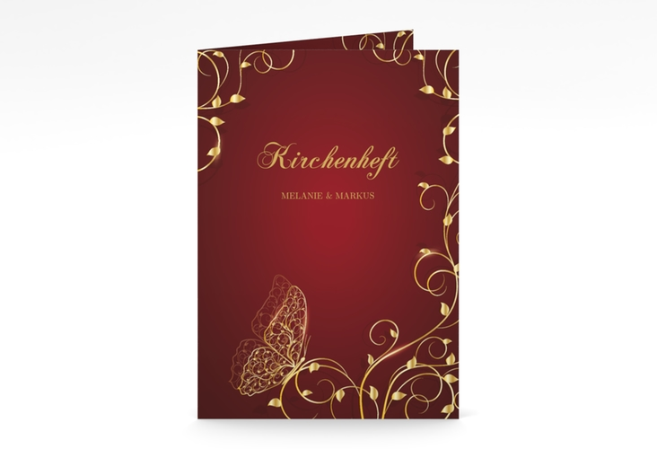 "Kirchenheft Hochzeit ""Eternity"" DIN A5 geklappt rot"