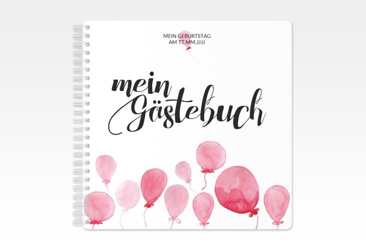 "Gästebuch Geburtstag ""Ballon"" Ringbindung rot"