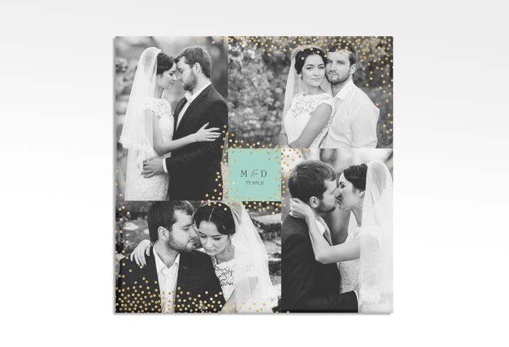"""Hochzeitscollage Leinwand """"Glitter"""" 30 x 30 cm Leinwand mint"""