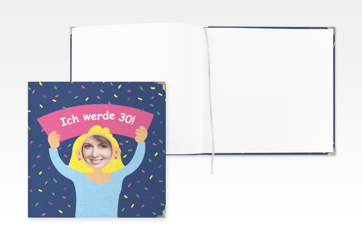 "Gästebuch Selection Geburtstag ""Comic Woman"" Leinen-Hardcover blau"