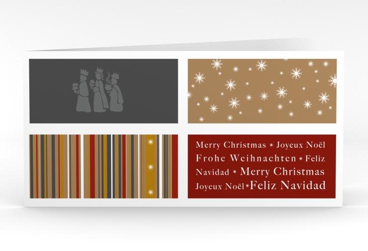 """Weihnachtskarte """"Morgenland"""" DIN lang Klappkarte rot"""