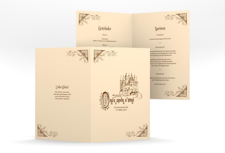 """Menükarte Hochzeit """"Storybook"""" DIN A5 geklappt"""