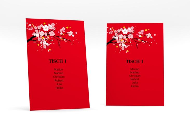 """Tischaufsteller Hochzeit """"Sakura"""" Tischaufsteller rot"""