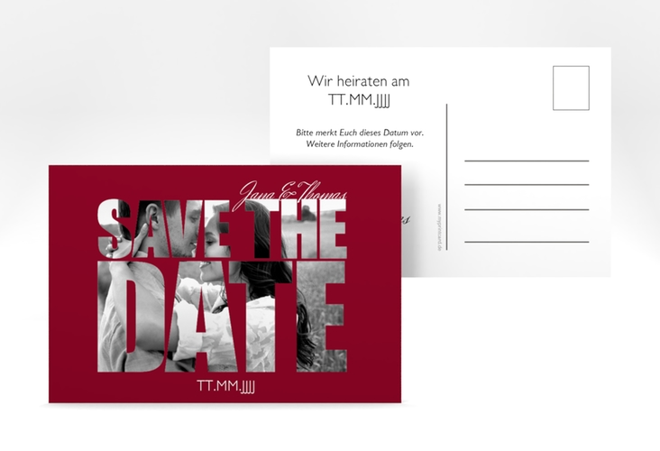 "Save the Date-Postkarte  ""Letters"" A6 Postkarte rot"