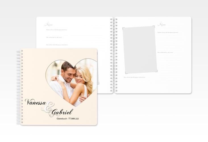 "Gästebuch Hochzeit ""Sweetheart"" Ringbindung beige"