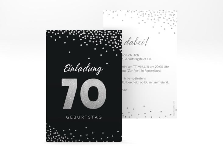 """Einladungskarte """"Glitzer"""" A6 hoch grau"""