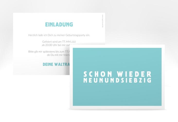"Einladungskarte ""Gag"" A6 quer tuerkis"