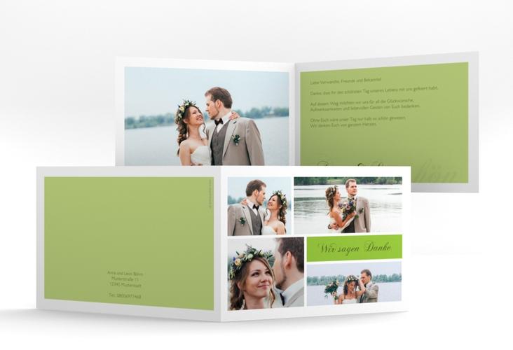 """Danksagungskarte Hochzeit """"Collage"""" A6 Klappkarte Quer gruen"""