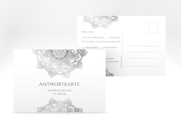 "Antwortkarte Hochzeit ""Delight"" A6 Postkarte grau"