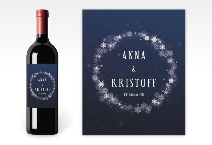 """Weinetikett zur Hochzeit """"Winterdream"""" Etikett Weinflasche 4er Set blau"""