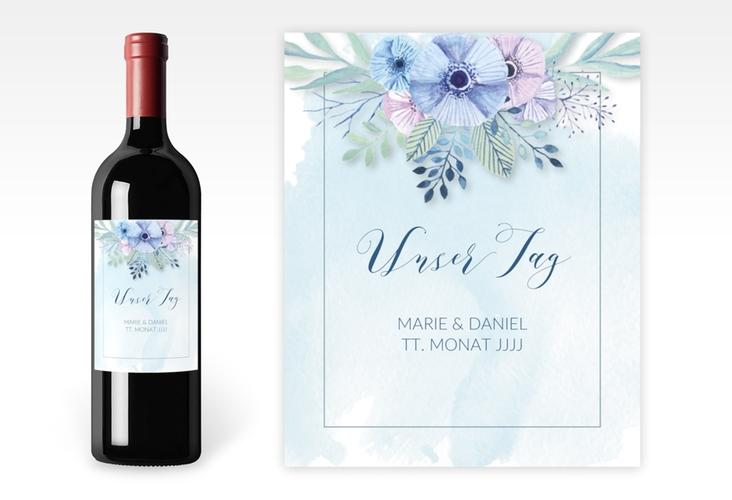 """Weinflaschenetikett Hochzeit """"Surfinia"""" Etikett Weinflasche 4er Set blau"""
