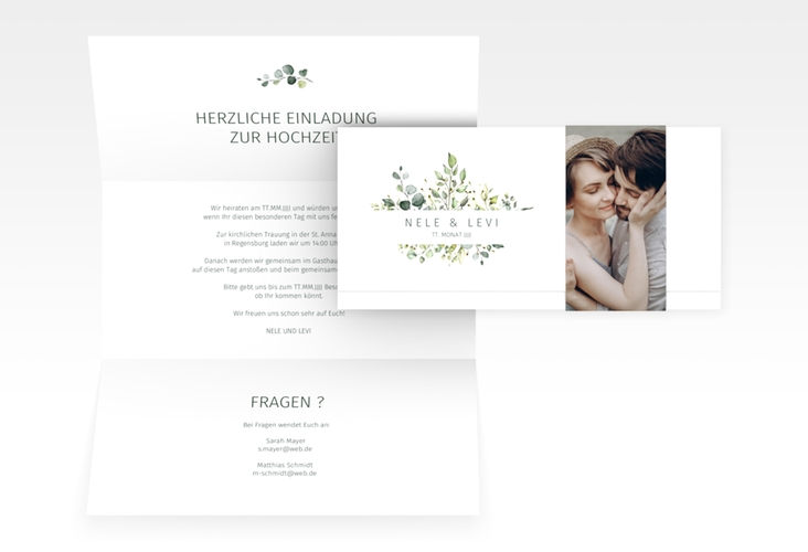 "Hochzeitseinladung ""Enchanthing"" DIN lang Wickelfalz weiss"