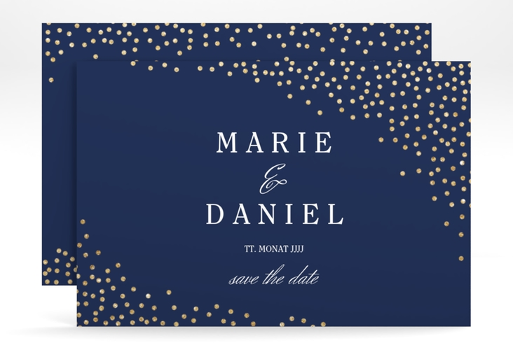 "Save the Date-Karte ""Glitter"" A6 quer blau"
