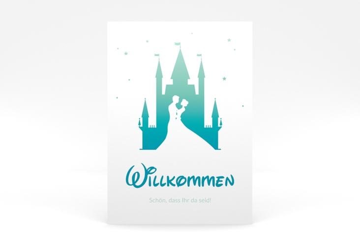 """Willkommensschild Poster """"Castle"""" 50 x 70 cm Poster tuerkis"""