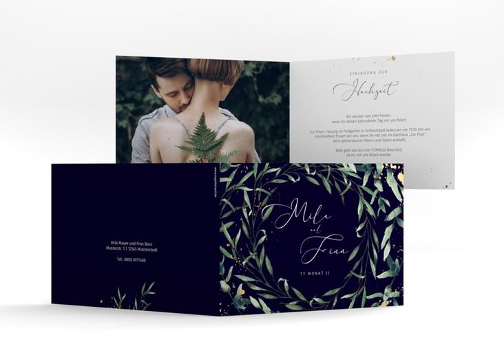 """Hochzeitseinladung """"Vivaldi"""" A6 Klappkarte Quer blau"""