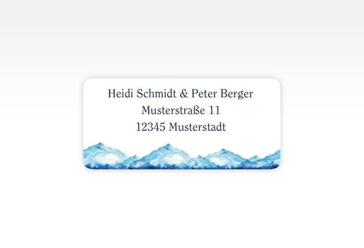 """Absenderetikett Hochzeit """"Bergliebe"""" 45,7 x 21,2 mm blau"""