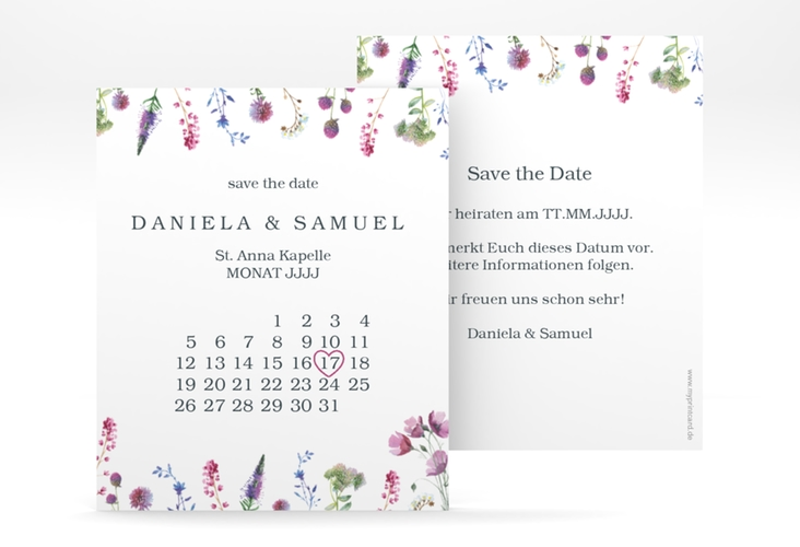 "Save the Date-Kalenderblatt ""Wildblumen"" Kalenderblatt-Karte"