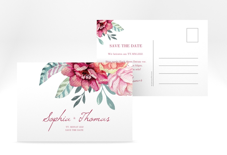 """Save the Date-Postkarte """"Blooming"""" A6 Postkarte weiss"""