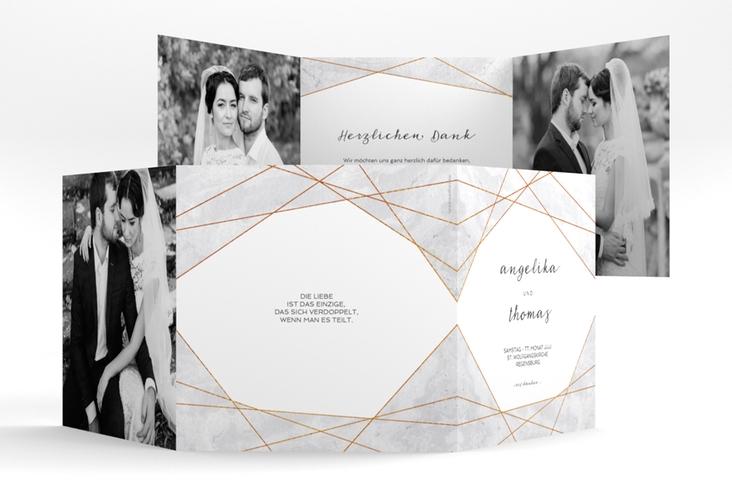 "Dankeskarte Hochzeit ""Asymmetry"" Quadr. Karte doppelt grau"