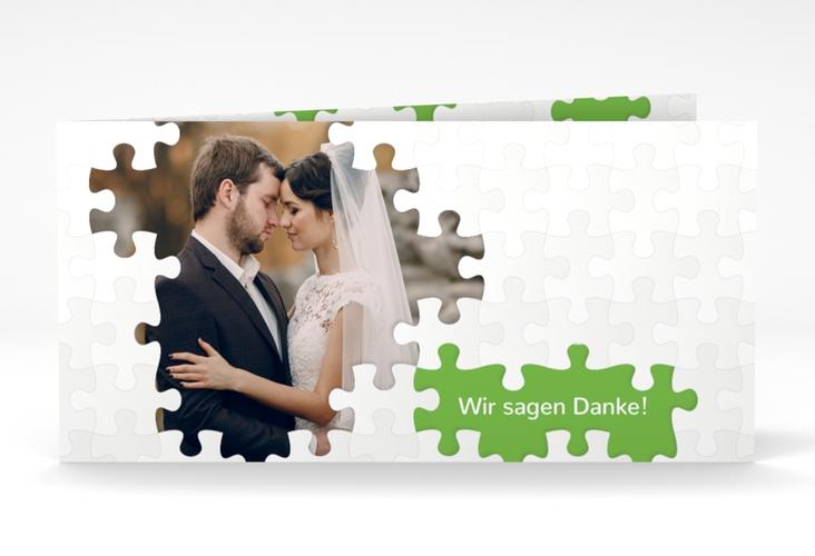 "Dankeskarte Hochzeit ""Puzzle"" DIN lang Klappkarte gruen"