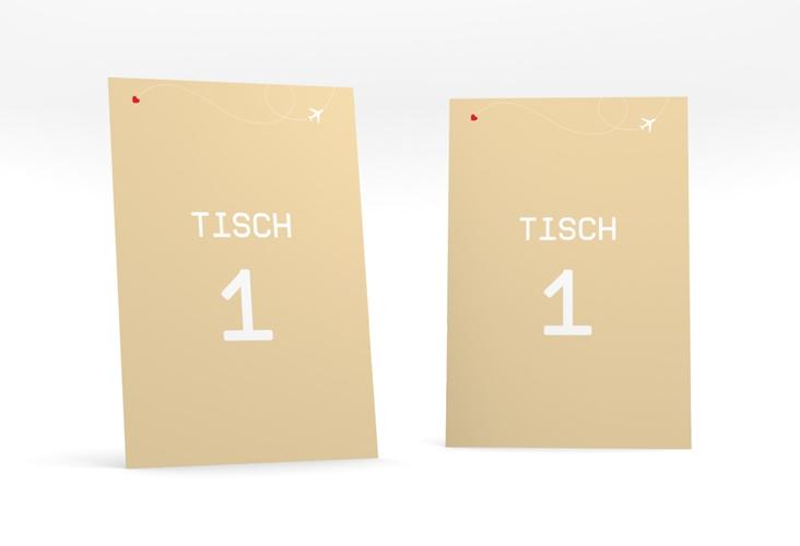 """Tischnummer Hochzeit """"Weddingpass"""" Tischaufsteller beige"""
