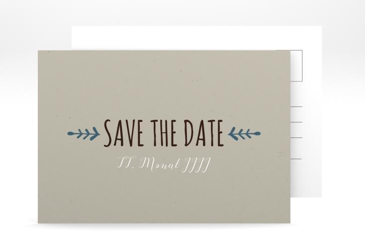 "Save the Date-Postkarte Hochzeit ""Eden"" A6 Postkarte blau"