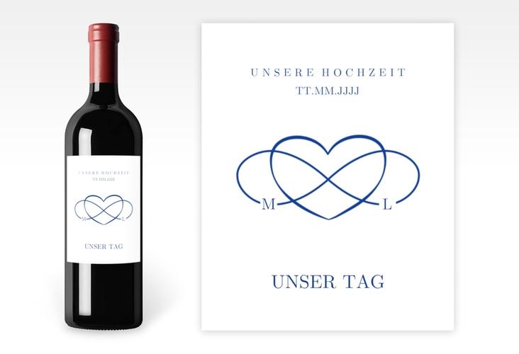"""Weinetikett zur Hochzeit """"Infinity"""" Etikett Weinflasche 4er Set blau"""