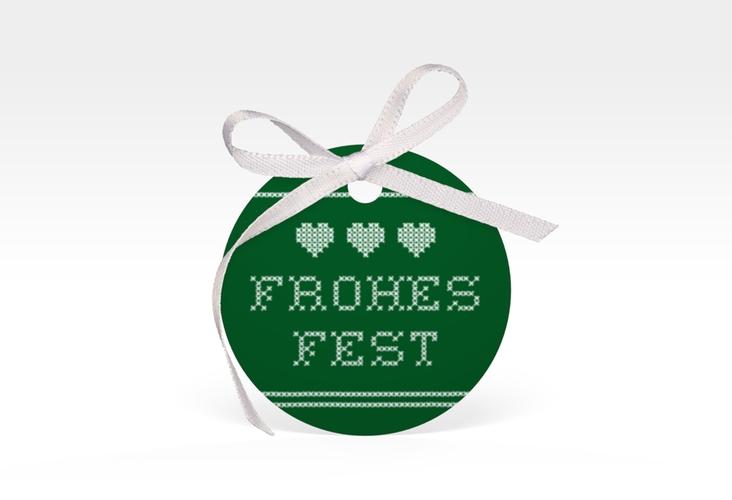 """Geschenkanhänger Weihnachten """"Stitch"""" Geschenkanhänger, rund gruen"""