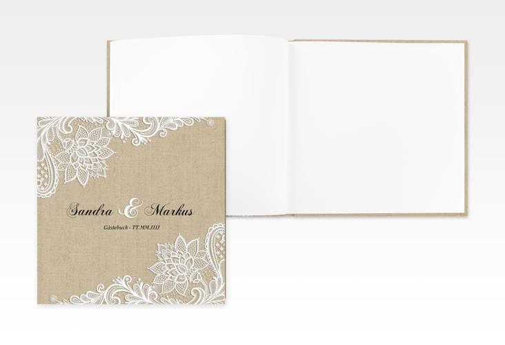 "Gästebuch Creation ""Lace"" 20 x 20 cm, Hardcover beige"