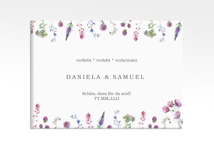 """Willkommensschild Leinwand """"Wildblumen"""" 70 x 50 cm Leinwand weiss"""