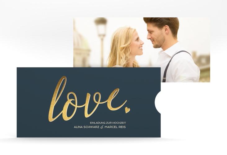 """Hochzeitseinladung """"Glam"""" Einsteckkarte blau"""