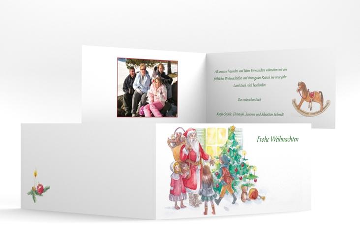 "Weihnachtskarte ""Bescherung"" DIN lang Klappkarte"