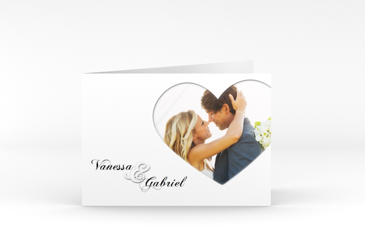 """Danksagungskarte Hochzeit """"Sweetheart"""" A6 Klappkarte Quer weiss"""