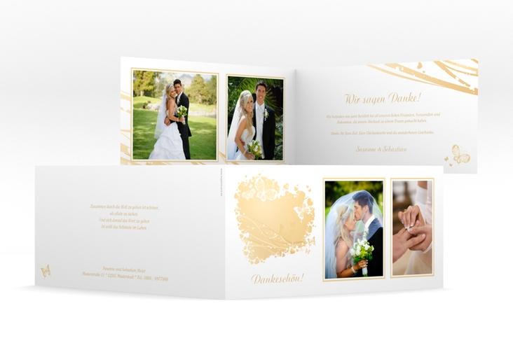 """Danksagungskarte Hochzeit """"Mailand"""" DIN lang Klappkarte beige"""