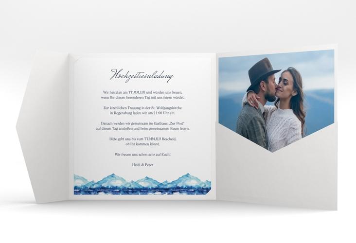 """Hochzeitseinladung """"Bergliebe"""" Pocketfold blau"""