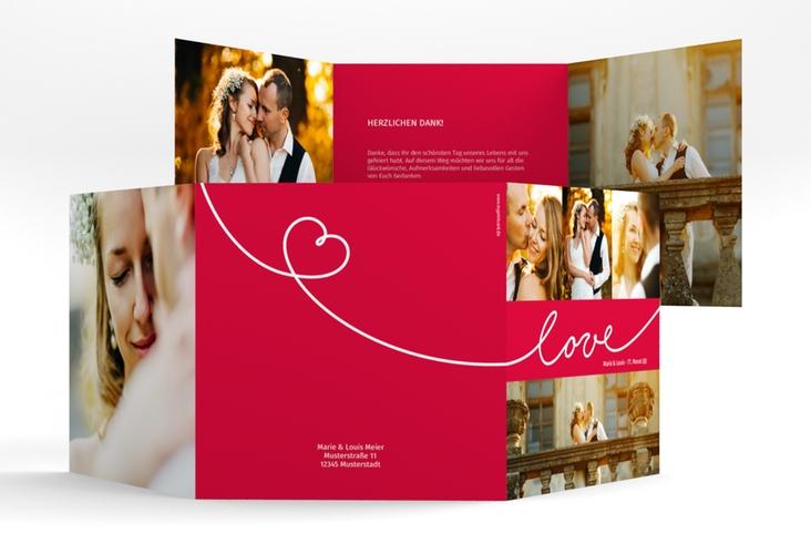 """Dankeskarte Hochzeit """"Line"""" Quadr. Karte doppelt rot"""