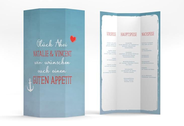 """Menükarte Hochzeit """"Ehehafen"""" DIN A4 Wickelfalz blau"""