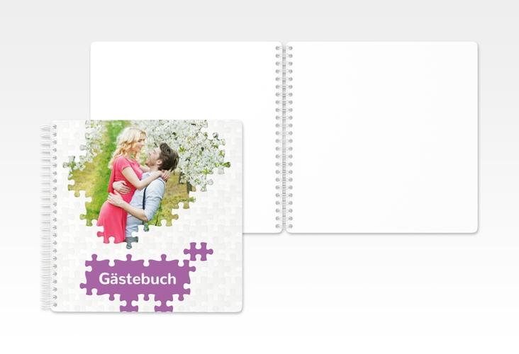 "Gästebuch Hochzeit ""Puzzle"" Ringbindung lila"