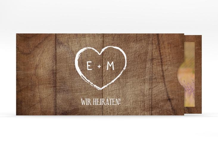 """Hochzeitseinladung """"Wood"""" Einsteckkarte braun"""